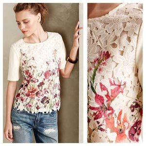 ANTHROPOLOGIE Canna Lace Tee Floral Blouse Top